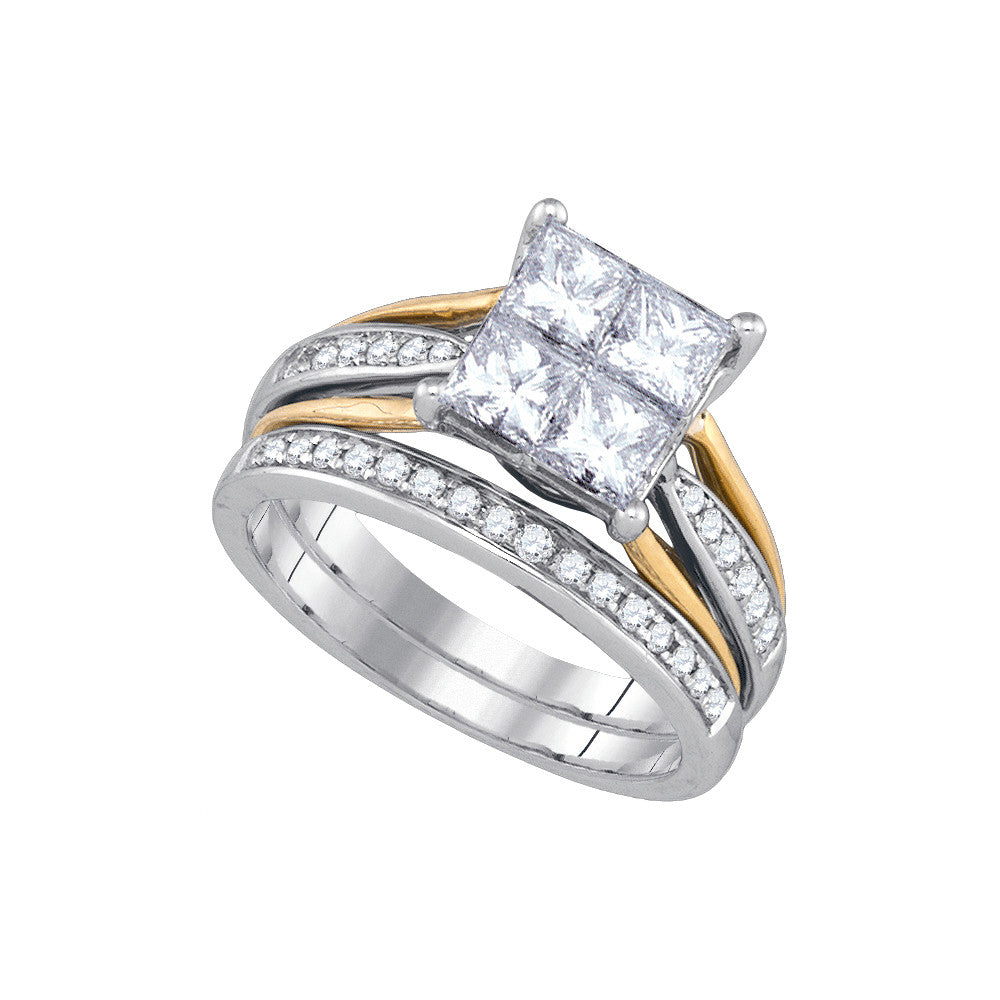 14k White Gold Womens Princess Diamond 2-tone Bridal Wedding Engagement Ring Band Set 2.00 Cttw 86708 - shirin-diamonds