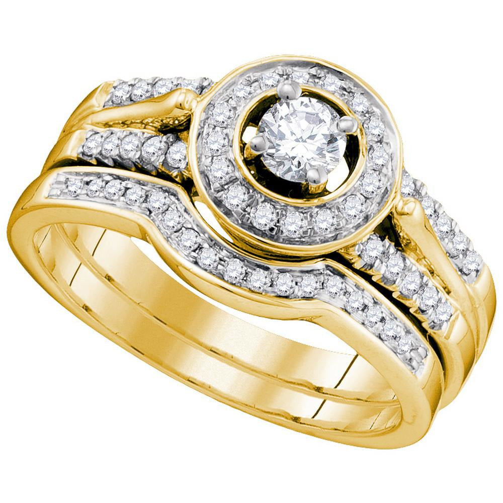 14kt Yellow Gold Womens Diamond Round Bridal Wedding Engagement Ring Band Set 1/2 Cttw 86775 - shirin-diamonds
