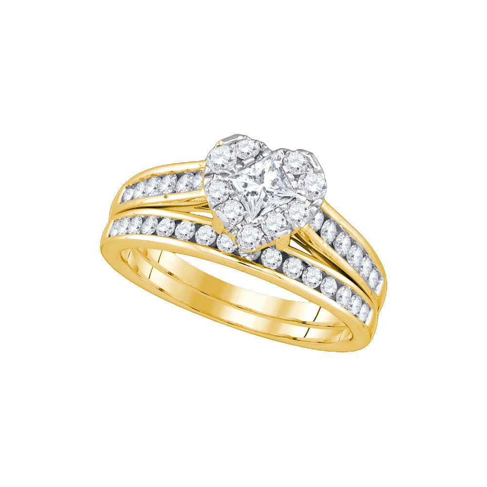 14kt Yellow Gold Princess Diamond Heart Bridal Wedding Engagement Ring Band Set 1-1/4 Cttw 86819 - shirin-diamonds