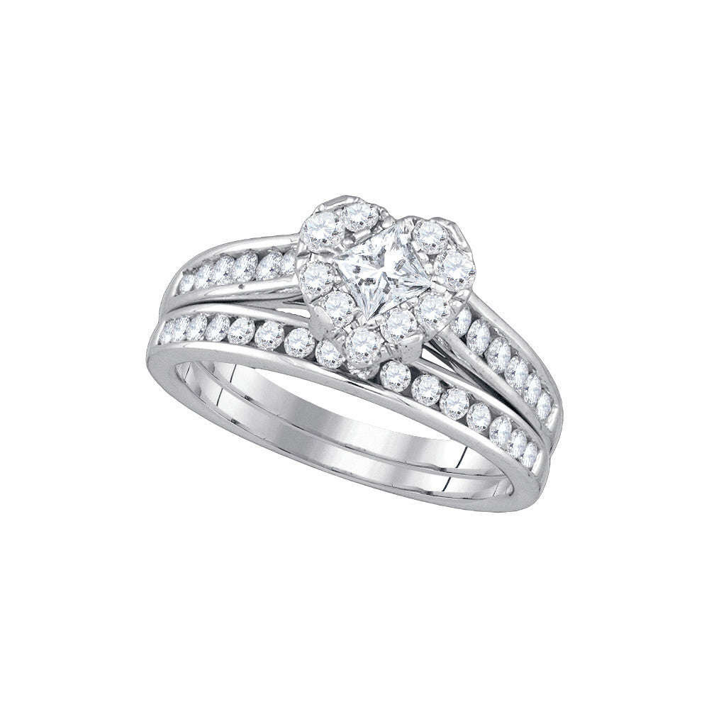 14kt White Gold Princess Diamond Heart Bridal Wedding Engagement Ring Band Set 1-1/4 Cttw 86820 - shirin-diamonds
