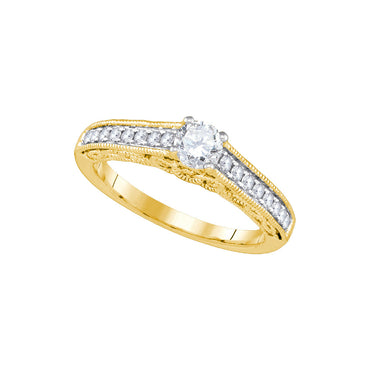 14kt Yellow Gold Womens Round Diamond Solitaire Bridal Wedding Engagement Ring 5/8 Cttw 86848 - shirin-diamonds