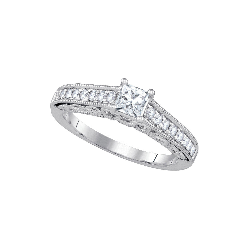 14kt White Gold Womens Princess Diamond Solitaire Bridal Wedding Engagement Ring 5/8 Cttw 86857 - shirin-diamonds