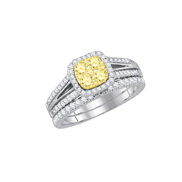 14kt White Gold Womens Round Yellow Diamond Bridal Wedding Engagement Ring Band Set 1.00 Cttw 87736 - shirin-diamonds