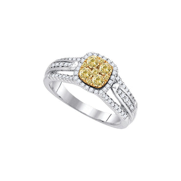 14kt White Gold Womens Round Yellow Diamond Cluster Bridal Wedding Engagement Ring 3/4 Cttw 87884 - shirin-diamonds