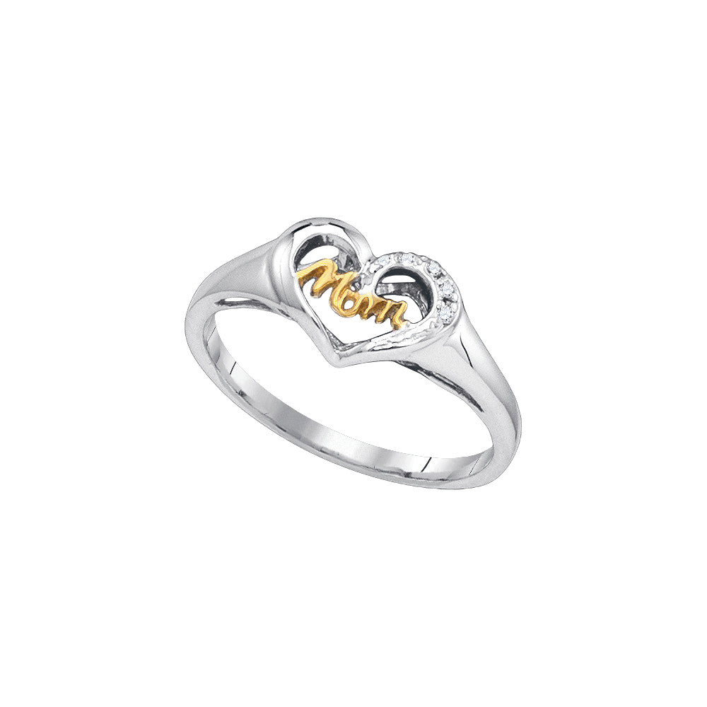 Sterling Silver Womens Round Diamond Mom Mother 2-tone Heart Ring .02 Cttw 87980 - shirin-diamonds