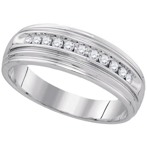 Sterling Silver Mens Round Diamond Band Wedding Anniversary Ring 1/4 Cttw 88601 - shirin-diamonds