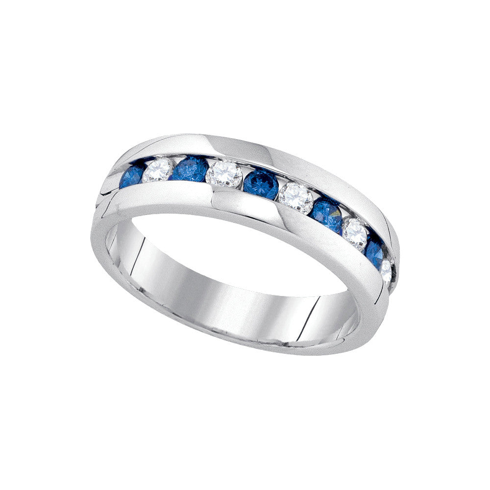 10kt White Gold Womens Round Blue Colored Diamond Band Wedding Anniversary Ring 1.00 Cttw 89292 - shirin-diamonds