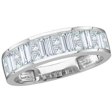 14kt White Gold Womens Baguette & Princess Diamond Wedding Anniversary Band 1.00 Cttw 8947 - shirin-diamonds