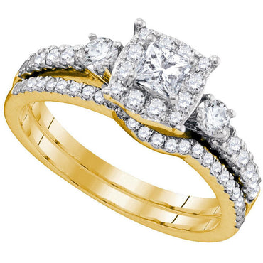 14k Yellow Gold Womens Princess Diamond Bridal Wedding Engagement Ring Band Set 7/8 Cttw 89839 - shirin-diamonds