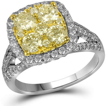14kt White Gold Womens Round Yellow Diamond Cluster Bridal Wedding Engagement Ring 2-1/5 Cttw 91489 - shirin-diamonds