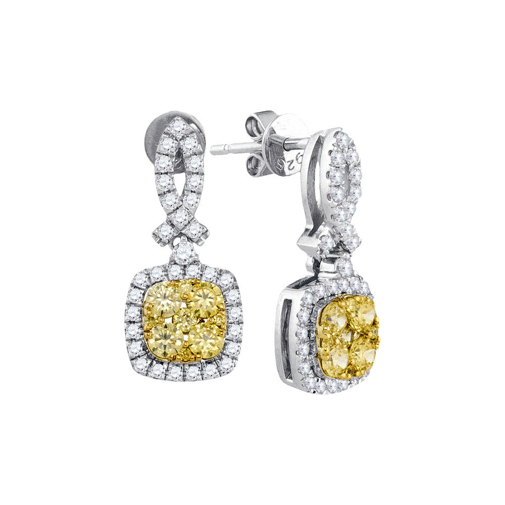 14kt White Gold Womens Round Yellow Diamond Square Frame Cluster Dangle Earrings 1-1/3 Cttw 91490 - shirin-diamonds