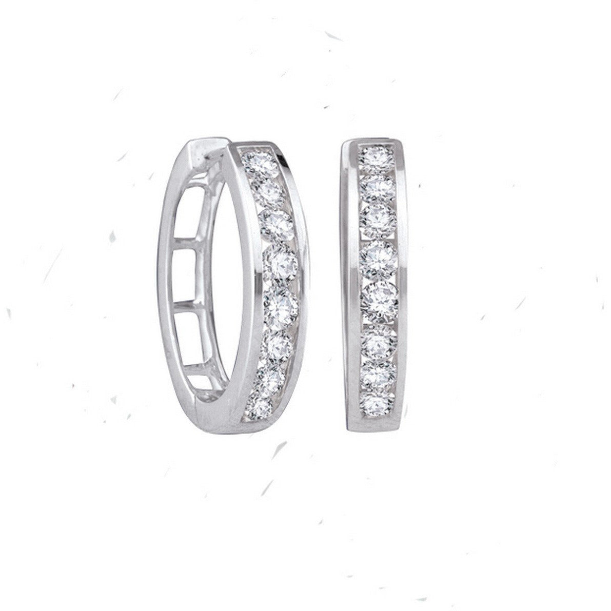 10kt White Gold Womens Round Diamond Hoop Earrings 1.00 Cttw 91568 - shirin-diamonds