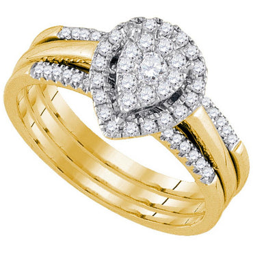 14k Yellow Gold Womens Amour Round Diamond Bridal Wedding Engagement Ring Band Set 1/2 Cttw 92706 - shirin-diamonds