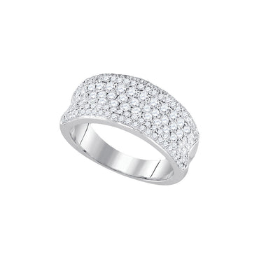 14k White Gold Womens Round Diamond Pave Wedding Anniversary Band Ring 1-1/3 Cttw 92848 - shirin-diamonds