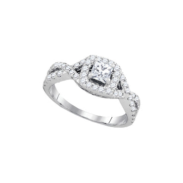 14kt White Gold Womens Princess Diamond Solitaire Twist Bridal Wedding Engagement Ring 1.00 Cttw 93829 - shirin-diamonds