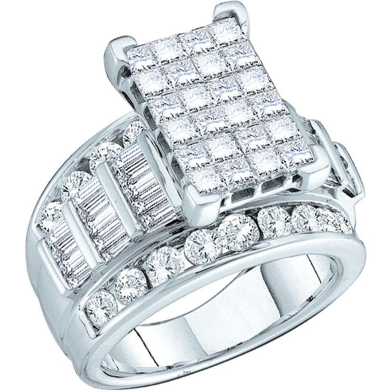 14kt White Gold Womens Elevated Princess Diamond Cluster Bridal Wedding Engagement Ring 1-1/2 Cttw 9593 - shirin-diamonds