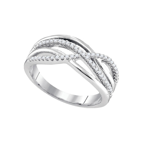 10k White Gold Womens Round Diamond Crossover Woven Band 1/5 Cttw 96590 - shirin-diamonds