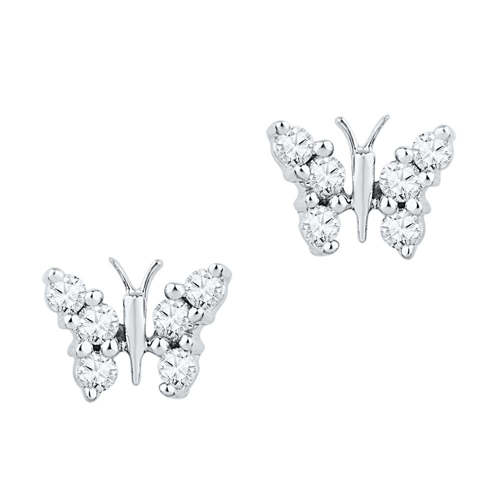 10kt White Gold Womens Round Diamond Butterfly Stud Earrings 1/5 Cttw 97389 - shirin-diamonds