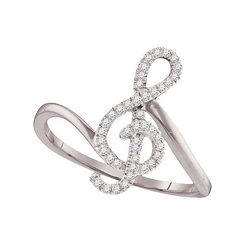 10k White Gold Round Diamond Treble Clef Music Note Womens Classic Ring 1/6 Cttw 98123 - shirin-diamonds