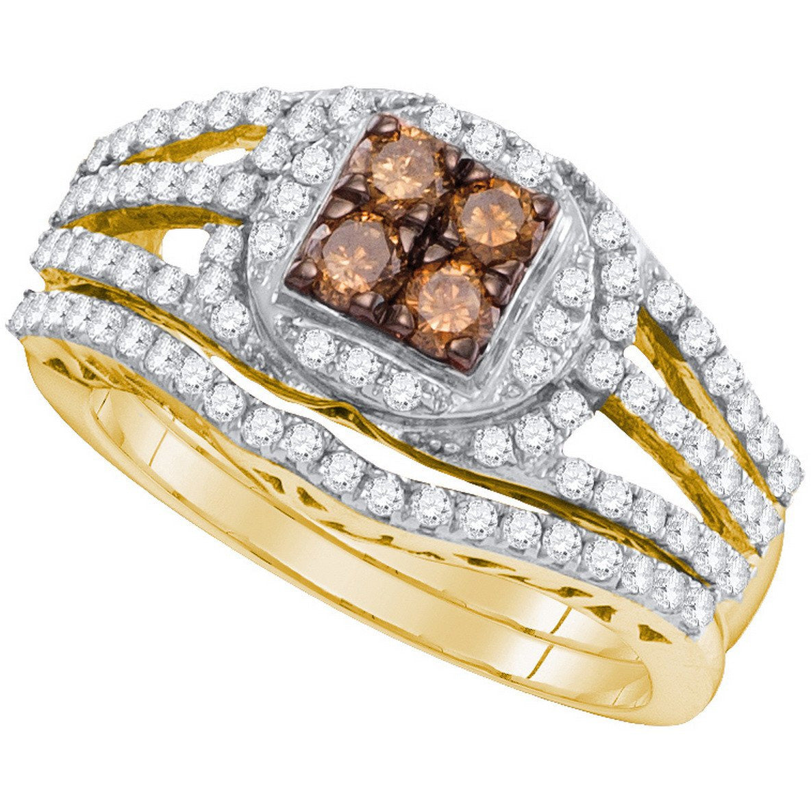 10kt Yellow Gold Womens Round Cognac-brown Colored Diamond Bridal Wedding Engagement Ring Band Set 1 Ctw 98208 - shirin-diamonds
