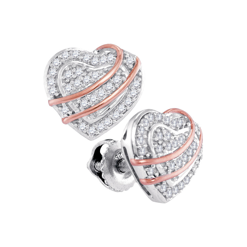 10k White Gold Round Diamond 2-tone Womens Heart Screwback Stud Earrings 1/6 Cttw 9831-5 - shirin-diamonds