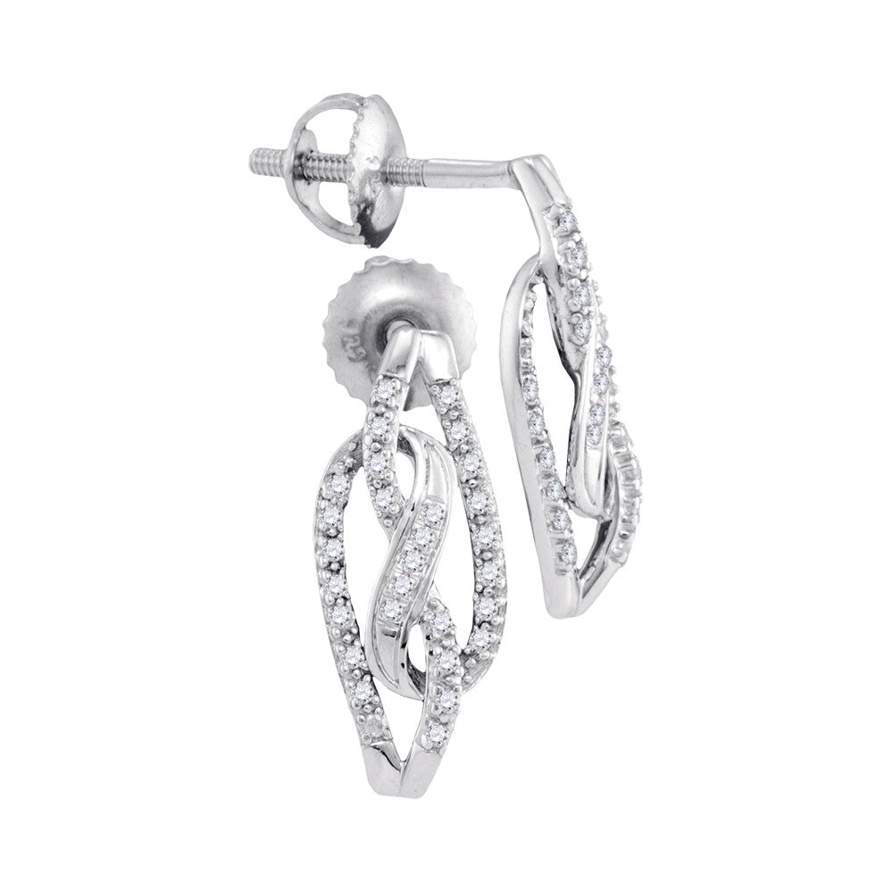 10kt White Gold Womens Round Diamond Infinity Screwback Stud Earrings 1/6 Cttw 98324 - shirin-diamonds