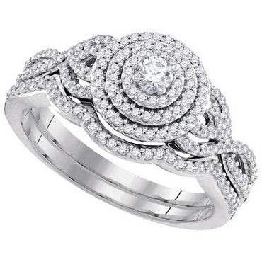10k White Gold Round Diamond Concentric Bridal Wedding Engagement Ring Band Set 1/2 Cttw 98602 - shirin-diamonds