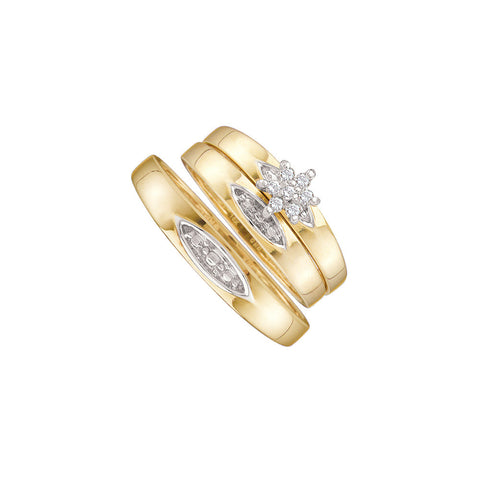 10kt Yellow Gold His & Hers Round Diamond Cluster Matching Bridal Wedding Ring Band Set 1/12 Cttw 9989 - shirin-diamonds