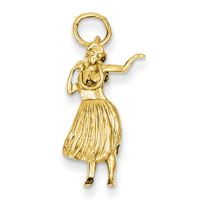 14k 3-D Hula Dancer Charm A0240 - shirin-diamonds