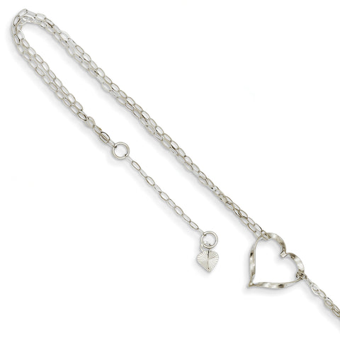 14k White Gold Double Strand Heart Anklet ANK174 - shirin-diamonds
