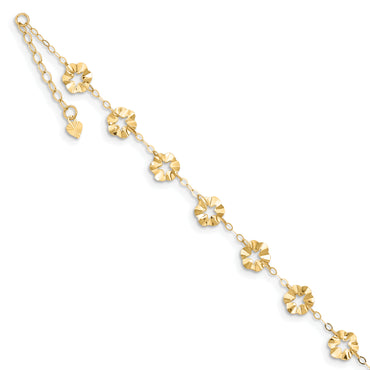14k Adjustable Flower Anklet ANK176 - shirin-diamonds