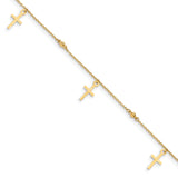 14k Polished and Textured Cross w/ 1in ext. Anklet ANK267 - shirin-diamonds