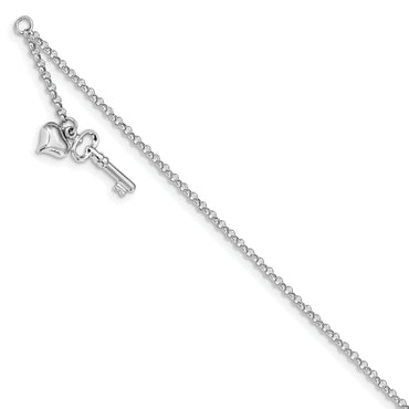 14k White Gold Adjustable Polished Puffed Heart & Key Anklet ANK45 - shirin-diamonds