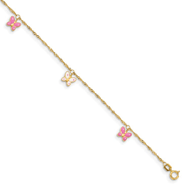 14k Adjustable Enameled Butterfly Anklet ANK88 - shirin-diamonds