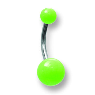 SGSS Curv BB w Glow in Dark Acrylic Balls 14G (1.6mm) 7/16 (12mm) Long BCVAGL14-45-58-GG - shirin-diamonds