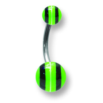 Stainless Stl Curv BB w Acrylic Neon Layered Balls 14G (1.6mm) 7/16 (12 BCVALN14-45-58-GBW - shirin-diamonds