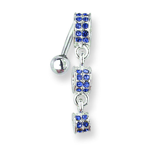 SGSS Curv BB w Fancy Gem Top Dangle 14G (1.6mm) 11mm Length Decreasing size BCVGNT202-BD - shirin-diamonds