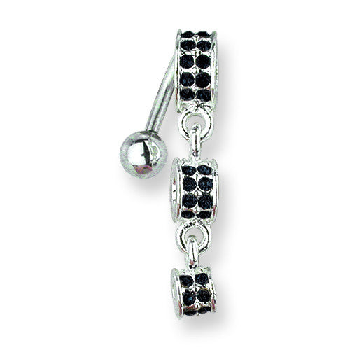SGSS Curv BB w Fancy Gem Top Dangle 14G (1.6mm) 11mm Length Decreasing size BCVGNT202-BLK - shirin-diamonds
