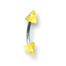 SGSS Curv BB w Acrylic Vert Layered Cones 16G (1.3mm) 3/8 (10mm) Long w BCVLVC16-40-44-CLYW - shirin-diamonds