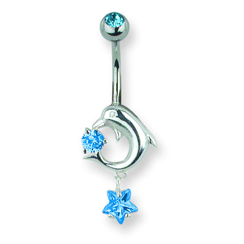 SGSS Curv BB w Small Charm & Mini Charm Dangle 14G (1.6mm) 13/32 (11mm) BCVMMD104-BL - shirin-diamonds