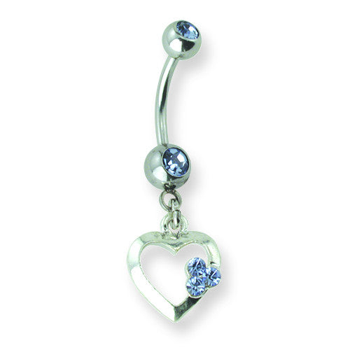 SGSS Curv BB w Gem Dangle 14G (1.6mm) 13/32 (11mm)  Curv BB w 5mm top g BCVNDG103-BL - shirin-diamonds
