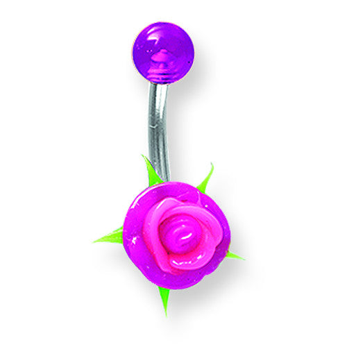 SGSS Curv BB w Multi Colored Silicone Flower & Top UV Ball on 90 degree s BCVSFM14-45-59-PP - shirin-diamonds