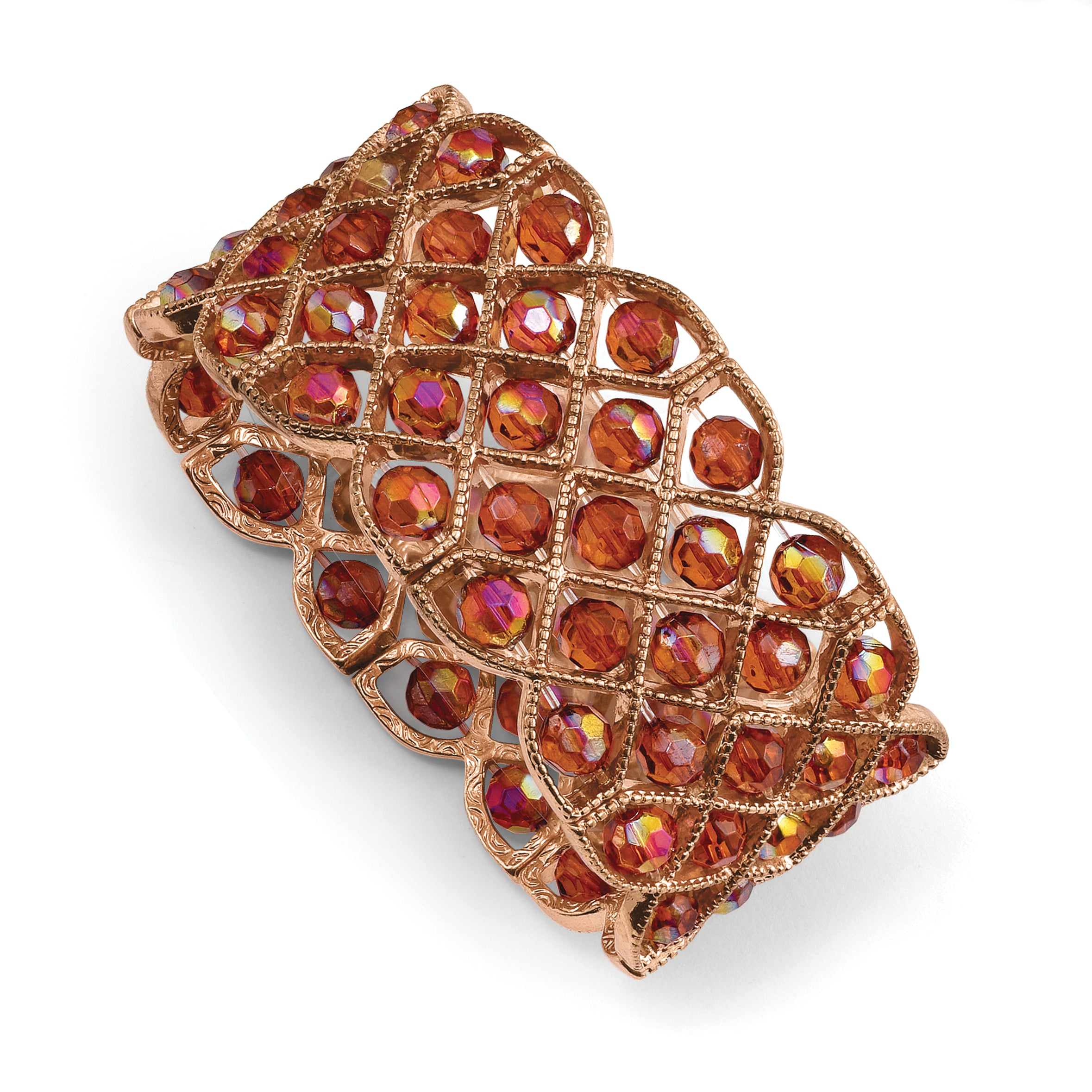 Copper-tone Copper Acrylic Beads Stretch Bracelet BF1074 - shirin-diamonds