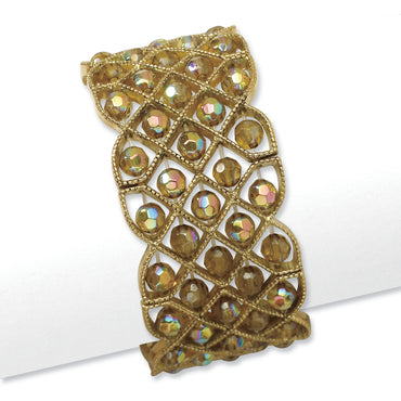Brass-tone Olive Acrylic Beads Stretch Bracelet BF1075 - shirin-diamonds
