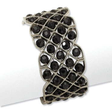 Silver-tone Black Acrylic Beads Stretch Bracelet BF1076 - shirin-diamonds