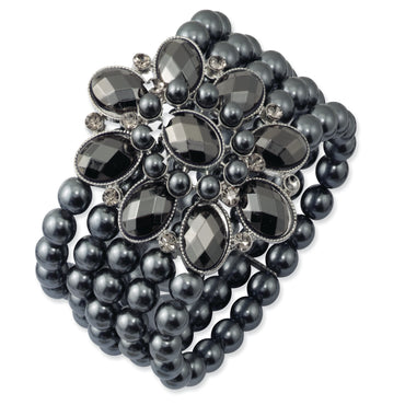 Black-plated Black & Hematite Acrylic Beads Stretch Bracelet BF1107 - shirin-diamonds