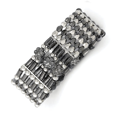Silver-tone & Black-plated Acrylic Beads Stretch Bracelet BF1127 - shirin-diamonds