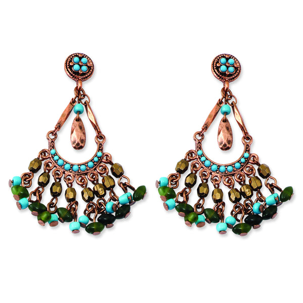Copper-tone Green, Teal Blue & Brown Acrylic Beads Post Earrings BF1139