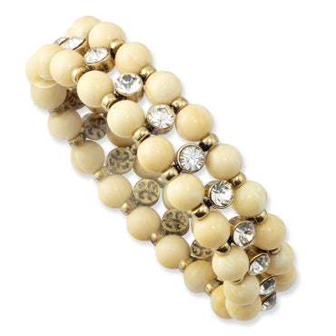 Brass-tone Cream Acrylic Beads & Clear Glass Stone Stretch Bracelet BF1148 - shirin-diamonds