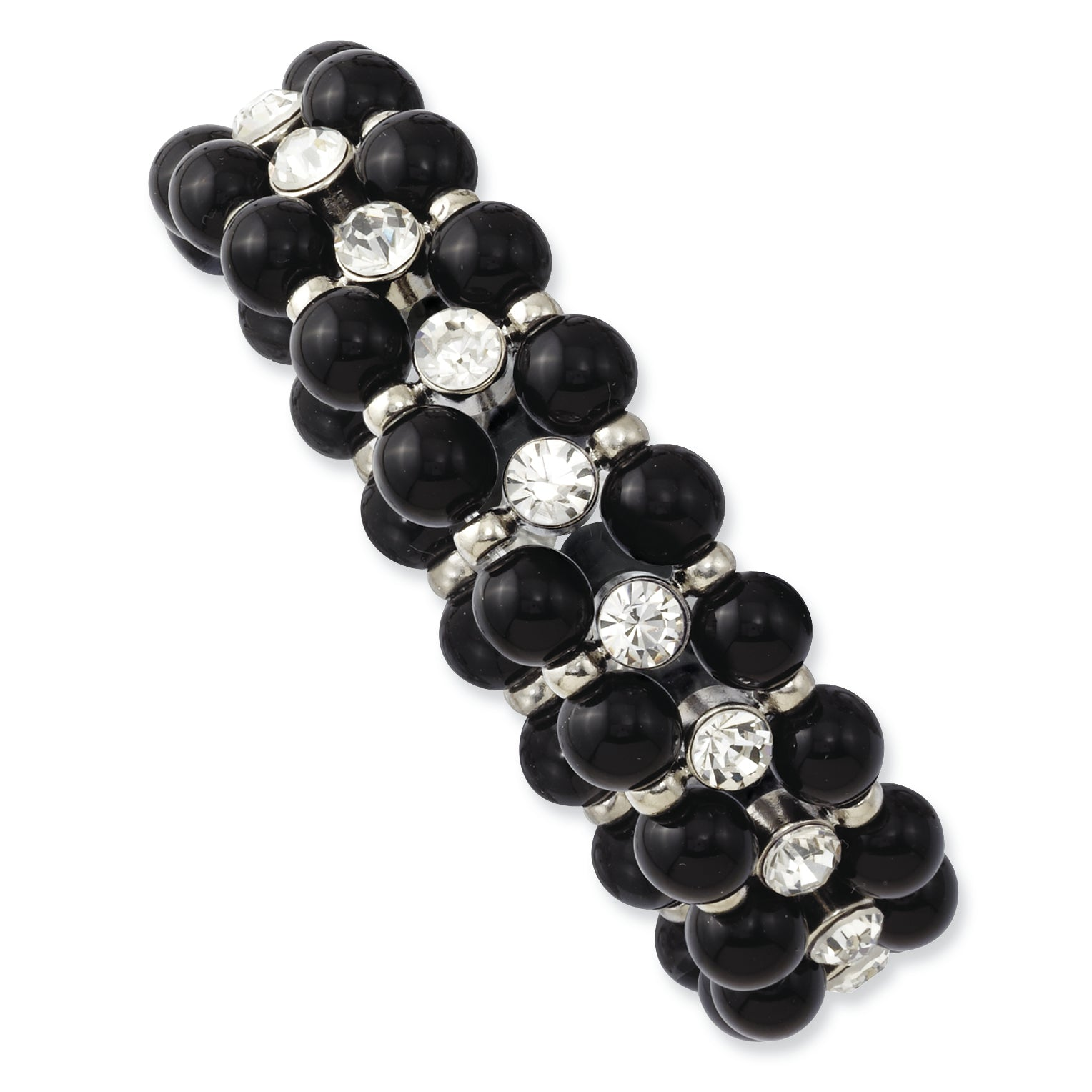 Silver-tone Black Beads & Clear Glass Stones Stretch Bracelet BF1149 - shirin-diamonds